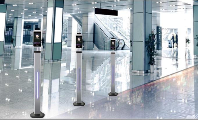 on-screen-go-safe-facial-recognition-scanners-in-office-hallway